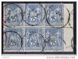 N° 79 SAGE 25c BLEU TYPE II EN BLOC DE 6 OBLITERE TTB - 1876-1898 Sage (Tipo II)