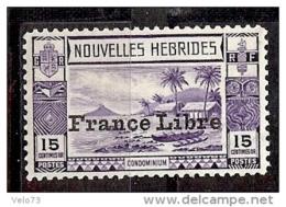 NOUVELLES HEBRIDES N° 126 FRANCE LIBRE AVEC TRACES DE ROUSSEUR ** - Légende Française