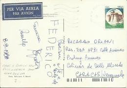 CS25-Cartolina 5 Parole Posta Aerea Per Il Venezuela 9/9/1988 -tariffa 450+300 - Rarissimo Uso E Rara Destinazione - 1981-90: Storia Postale