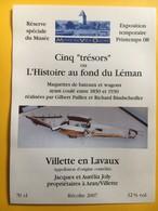 8647 - Musée Du Vieil Ouchy 2008 Suisse 5 Trésors Ou L'histoire Au Fond Du Léman Villette Jacques Et Aurélia Joly 2007 - Art