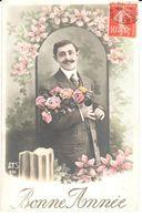 Thèmes - CPA - Bonne Année 1910 - Fantaisies - Homme - Fleur - Nouvel An