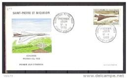 ST PIERRE PA 43 CONCORDE SUR ENVELOPPE PJ ILLUSTREE - St.Pierre Et Miquelon