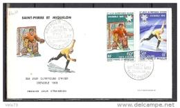 ST PIERRE PA 40/41 JEUX OLYMPIQUES DE GRENOBLE SUR ENVELOPPE PJ ILLUSTREE - St.Pierre Et Miquelon