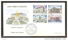ST PIERRE N° 387/390 SUR ENVELOPPE PJ ILLUSTREE - St.Pierre Et Miquelon