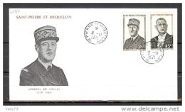 ST PIERRE N° 419/420 DE GAULLE SUR ENVELOPPE PJ ILLUSTREE - St.Pierre Et Miquelon