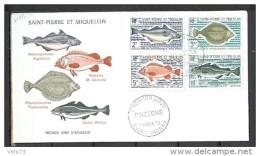 ST PIERRE N° 421/424 POISSONS SUR ENVELOPPE PJ ILLUSTREE - St.Pierre Et Miquelon