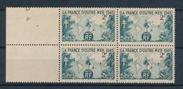 FRANCE - BLOC DE 4 N°YT 741 NEUF** SANS CHARNIERE - COTE YT : 1.20€ - 1945 - Unused Stamps