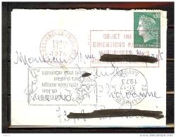 N° 1611 MARIANNE CHEFFER OBLITERE MECANIQUE ROUGE DU CENTRE RECHERCHES COURRIER LIBOURNE SUR LETTRE - 1961-....