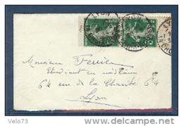 N° 137 SEMEUSE PAIRE DE CARNET SUR LETTRE DE LYON TTB - 1877-1920: Semi Modern Period