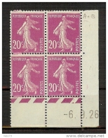 N° 190 SEMEUSE 20c ROSE COIN DATE 6/9/26 AVEC VARIETE UN TIMBRE POINT BLANC APRES  POSTES ** - ....-1929