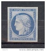 N° 37f REIMPRESSION GRANET AVEC GOMME COULEE * - 1870 Siege Of Paris