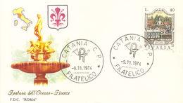ITALIA FDC ROMA FIRENZE FONTANA DELL'OCEANO 1974 ANNULLO CATANIA. - FDC