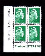 France 2018 / Coin Daté / 15.05.18 TD 205 /  Marianne L'engagée / Lettre Verte (0.80 €) - Dated Corners