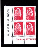 France 2018 / Coin Daté / 28.05.18 TD 205 / Marianne L'engagée / Lettre Prioritaire (0.95 €) - Dated Corners