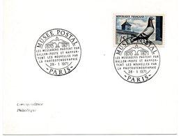 OISEAU / PIGEON VOYAGEUR = PARIS 1971 + N° 1091 = CACHET Illustré = MUSEE POSTAL LES MESSAGERS PARTENT PAR BALLON - Postmark Collection (Covers)