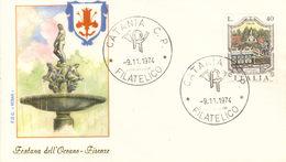 ITALIA FDC ROMA FIRENZE FONTANA DELL'OCEANO 1974 ANNULLO CATANIA.+4 - FDC