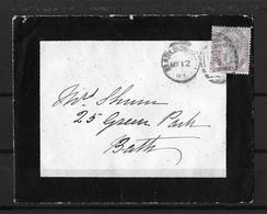 1884 Great Britain → 1d Lilac Mourning Cover Marlboroughl Type H Duplex To Bath - 1840-1901 (Victoria)