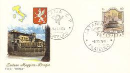 ITALIA FDC ROMA FONTANA MAGGIORE PERUGIA 1974 ANNULLO CATANIA.+2 - FDC