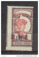 MARTINIQUE N° 87 VARIETE PIQUAGE A CHEVAL+TRES FORT DECALAGE DE LA COULEUR ROUGE TTB * - Martinique (1886-1947)