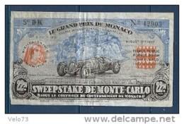BILLET DE LOTERIE DU GRAND PRIX DE MONACO DE 1937 RARE - Lottery Tickets