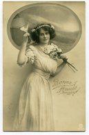 CPA - Carte Postale - Belgique - Bonne Année - Femme - Fleurs - 1910 ( CP4445 ) - Nouvel An