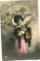 CPA - Carte Postale - Belgique - Bonne Année - Femme - Houx - 1911 ( CP4446 ) - Nouvel An