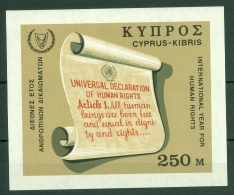 Cyprus: 1968   Human Rights Year   M/S  MNH - Chypre (République)
