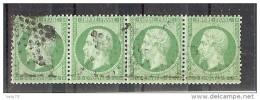 N° 20 BANDE DE 4 OBLITERE ETOILE TTB - 1862 Napoléon III