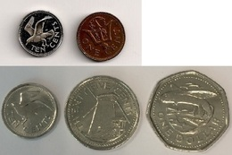 Barbades - 1 Cent 1976 - 10 Cents 1976 - 10 Cents 2012 - 25 Cents 2008 - 1 Dollar 2012 - Barbades