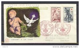 N° 1048/1049 CROIX ROUGE 1955 SUR  ENVELOPPE PJ ILLUSTREE - 1950-1959