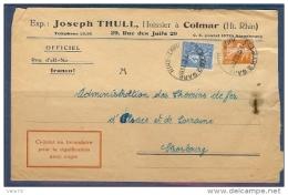 N° 205+235 SEMEUSE SUR LETTRE DE COLMAR 2 GARE DE 1932 - Storia Postale