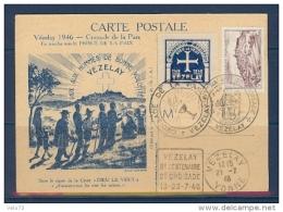 CARTE POSTALE DU 8EME CENTENAIRE DE LA CROISADE DE LA PAIX DE VEZELAY AVEC DAGUIN - Marcophilie (Lettres)