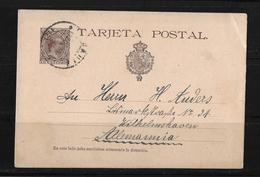 1892 Spain → 10c Violet Brown PS Postcard H&G 27 Cadiz Cover To Germany - Entiers Postaux