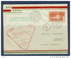 GUINEE ENVELOPPE 1ER VOL KANKAN CONAKRY DU 20/02/40 - Französisch-Guinea (1892-1944)
