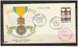 N° 927 MEDAILLE MILITAIRE SUR ENVELOPPE PJ ILLUSTRRE DU 05/07/1952 - FDC