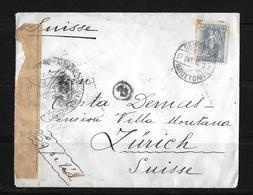 1915 Greece → WW 1 French Censored Piraeus Letter Cover To Zurich, Switzerland - Grèce