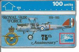 Télécarte De GIBRALTAR - 75ème Anniversaire De La ROYAL AIR FORCE ( RAF - Avion - Military ) - Armée