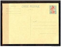 ENTIER N° 1233-CP1 SEMEUSE LIGNEE AVEC VARIETE DECALAGE DE COULEUR ROUGE NEUVE - Postales Tipos Y (antes De 1995)