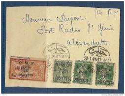 SYRIE PA 1x2+2+3 OBLITERES SUR DEVANT DE LETTRE TTB - Syrie (1919-1945)