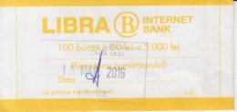 Romania - Libra Internet Bank - Bank Label For 100 Banknotes - Bills Of Exchange