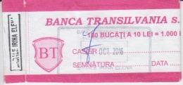 Romania - BT Banca Transilvania Bank - Bank Label For 100 Banknotes - Bills Of Exchange