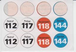 Stickers - Adhesive Stickers - Notruf Polizei Feuerwehr Sanitat - Stickers