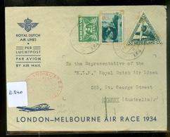 LP * KLM *  AIR MAIL VLUCHT * LONDON - MELBOURNE AIR RACE 1934     (11.240) - Period 1891-1948 (Wilhelmina)