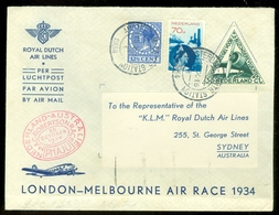 LP * KLM *  AIR MAIL VLUCHT * LONDON - MELBOURNE AIR RACE 1934     (11.240a) - Period 1891-1948 (Wilhelmina)