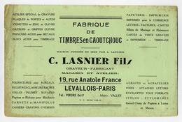 Buvard C. Lasnier Fils à Levallois-Perret (ABE) - Fabrication De Timbres En Caoutchouc - Buvards, Protège-cahiers Illustrés