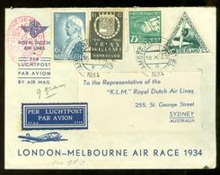 LP * KLM *  AIR MAIL VLUCHT * LONDON - MELBOURNE AIR RACE 1934     (11.240b) - Period 1891-1948 (Wilhelmina)
