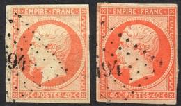 NAPOLEON ND N° 16 X 2 ORANGE & ORANGE VIF OB. PC 494 BOUXWILLER BAS-RHIN - 1853-1860 Napoleon III