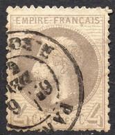 NAPOLEON LAURE N° 27Bd GRIS-JAUNÂTRE OB. CAD PARIS COTE > 80 € - 1853-1860 Napoleon III