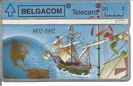 Télécarte De BELGIQUE - CHRISTOPHE COLOMB - 500ème Anniversaire De La Découverte De L'Amérique ( Bateau ) - Bateaux