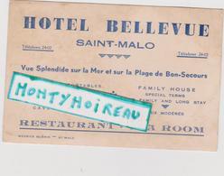 Vieux Papier: Carte De  Visite à SAINT MALO , Ille Et  Vilaine :  Hotel  Bellevue - Cartes De Visite